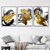 Gold and Black Streak Canvas Set