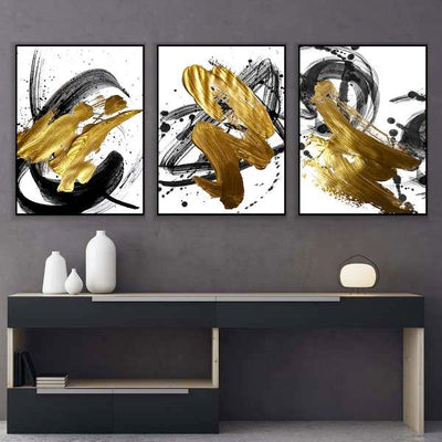 Gold and Black Streaks Canvas Set