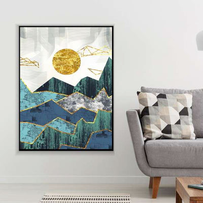 Abstract Blue Mountains Canvas Set