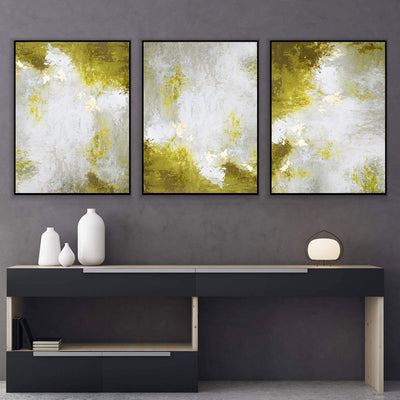 Abstract Moss Green Canvas Set