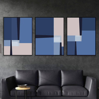 Blue Lines Canvas Set