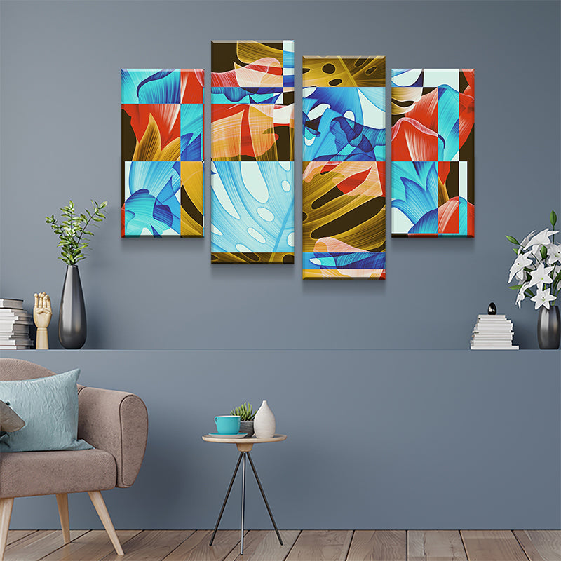 Floral Glitch Canvas Set