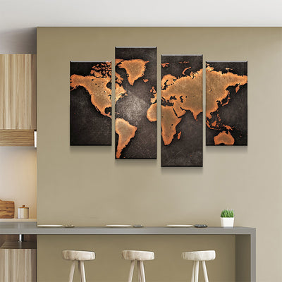 Rustic World Map Canvas Set