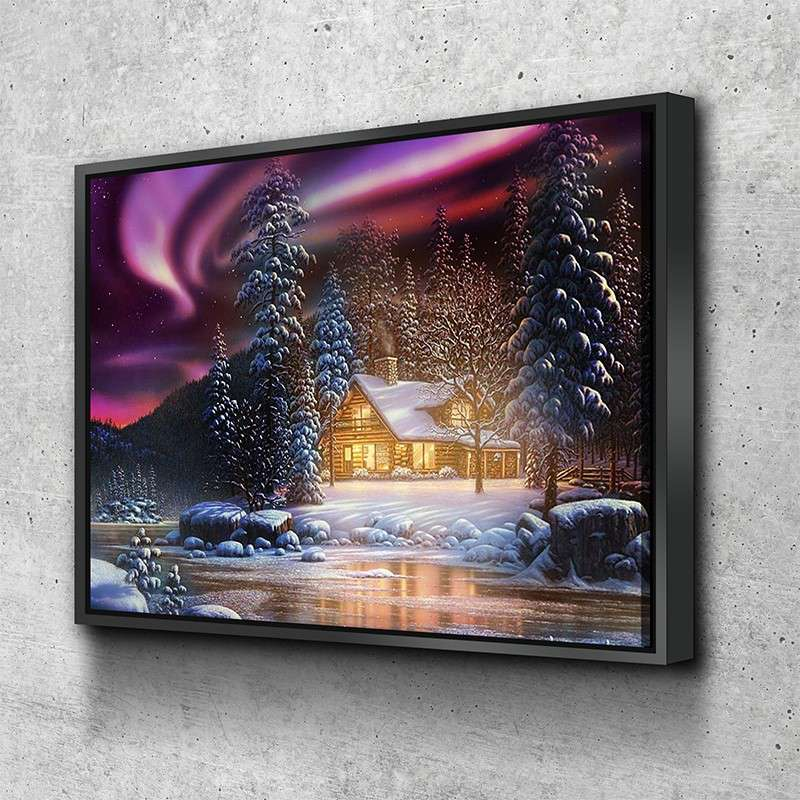 Winter Night Cabin Canvas Set