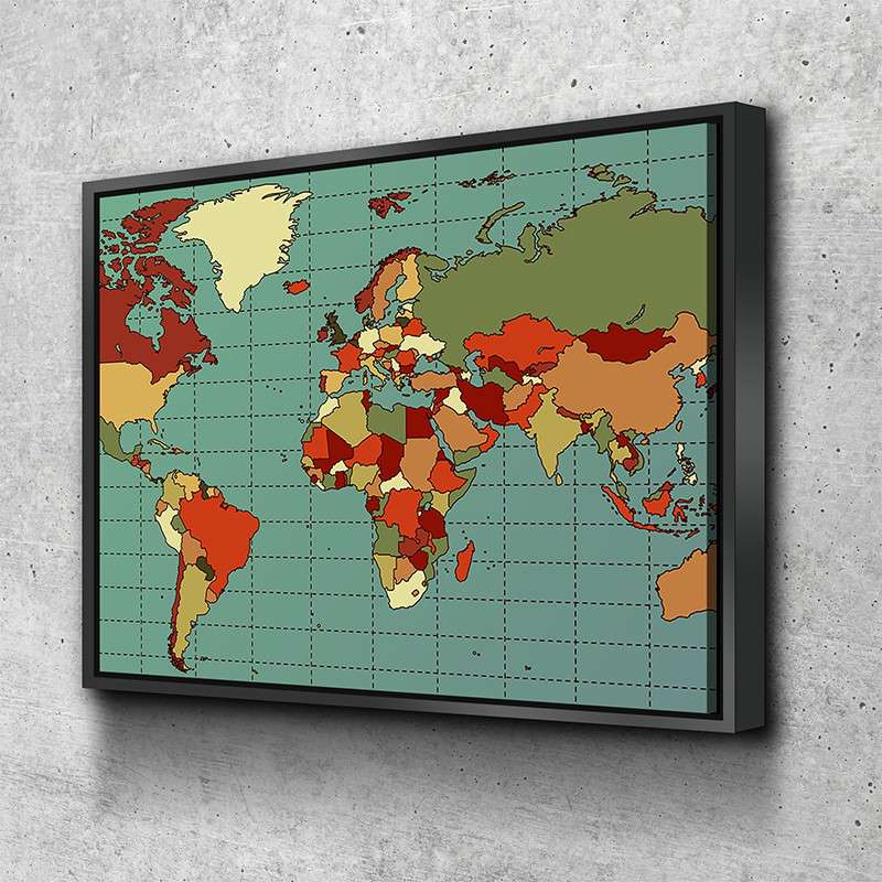 World Map No11 Canvas Set