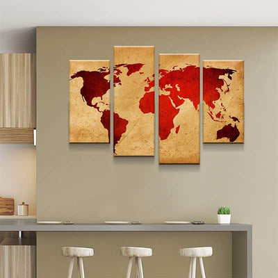 World Map No2 Canvas Set