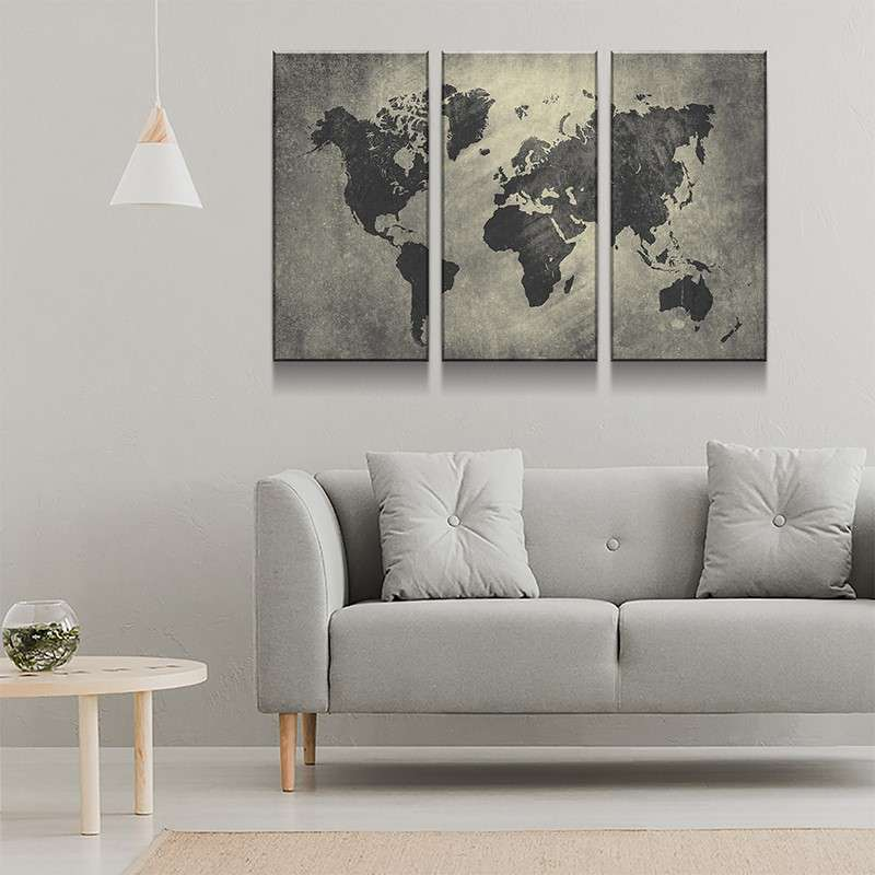 World Map No3 Canvas Set
