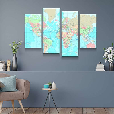 World Map No33 Canvas Set