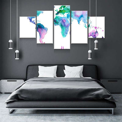 World Map No4 Canvas Set