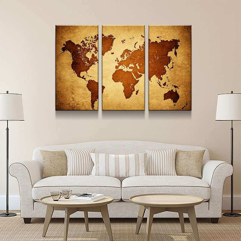 World Map No40 Canvas Set