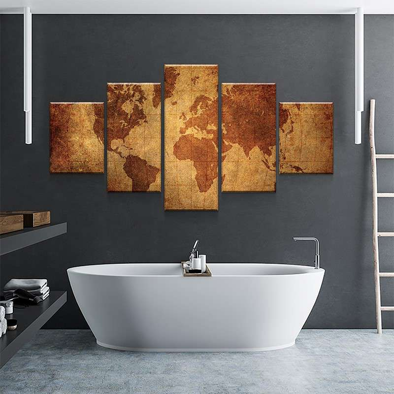World Map No5 Canvas Set