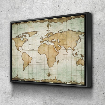 World Map No9 Canvas Set