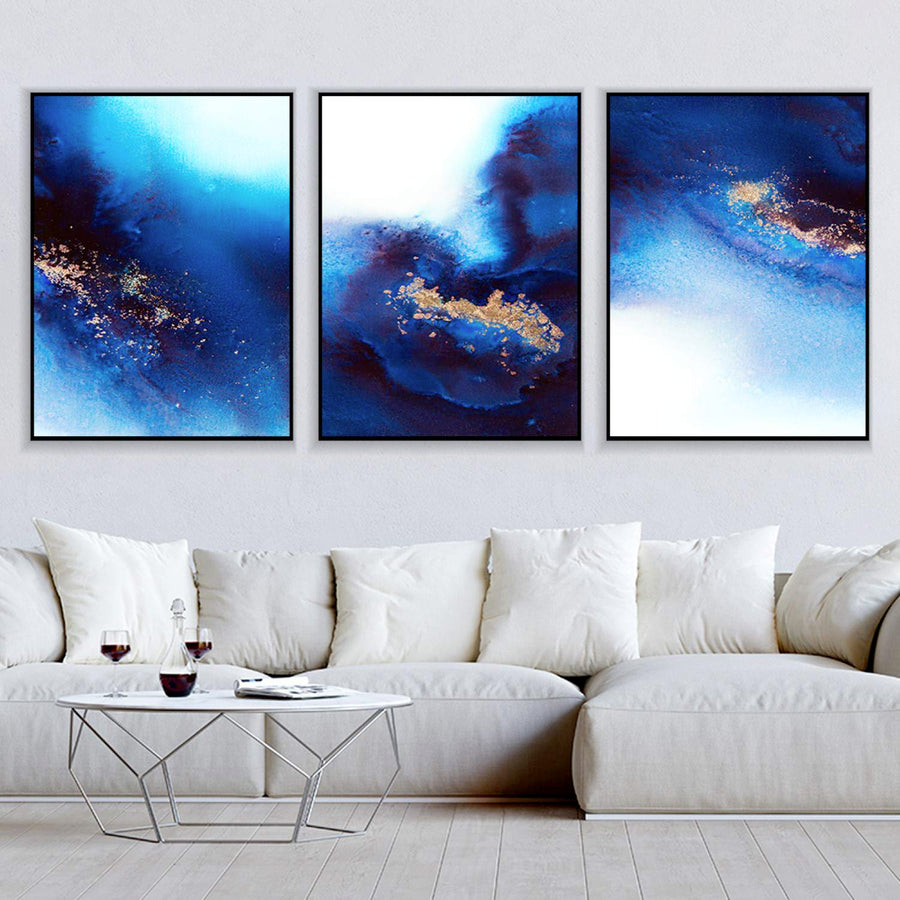 Blue and Gold Canvas Set