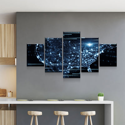 Futuristic USA Map Canvas Set