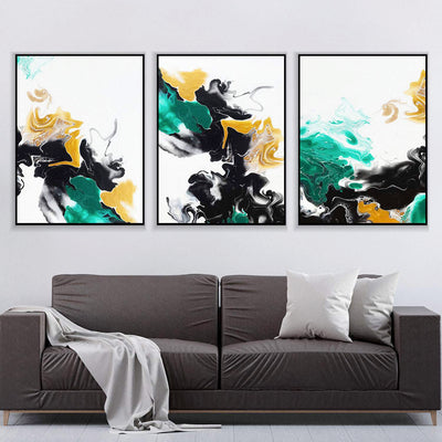 Green and Gold Ribbons Canvas Set