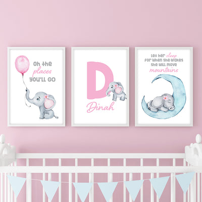 Baby Elephant Custom Canvas Set