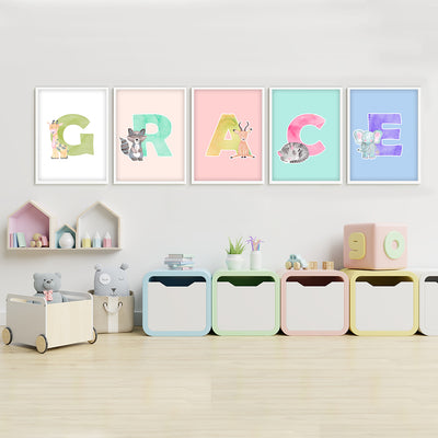 Build-A-Name Watercolor Custom Canvas Set