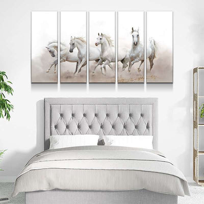 White Arabian Horses Canvas Set