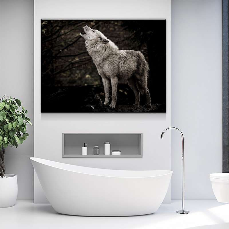 White Wolf Howling Canvas Set
