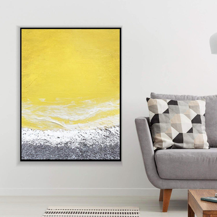 Yellow Silver Grey Canvas Set