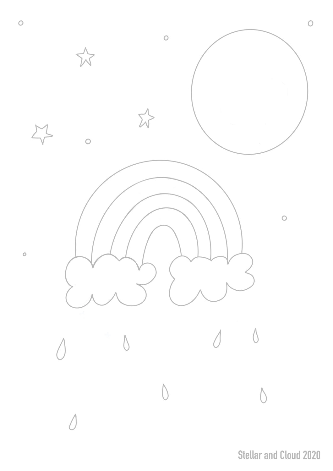 Rainbow Sky Digital Download Colouring Sheet