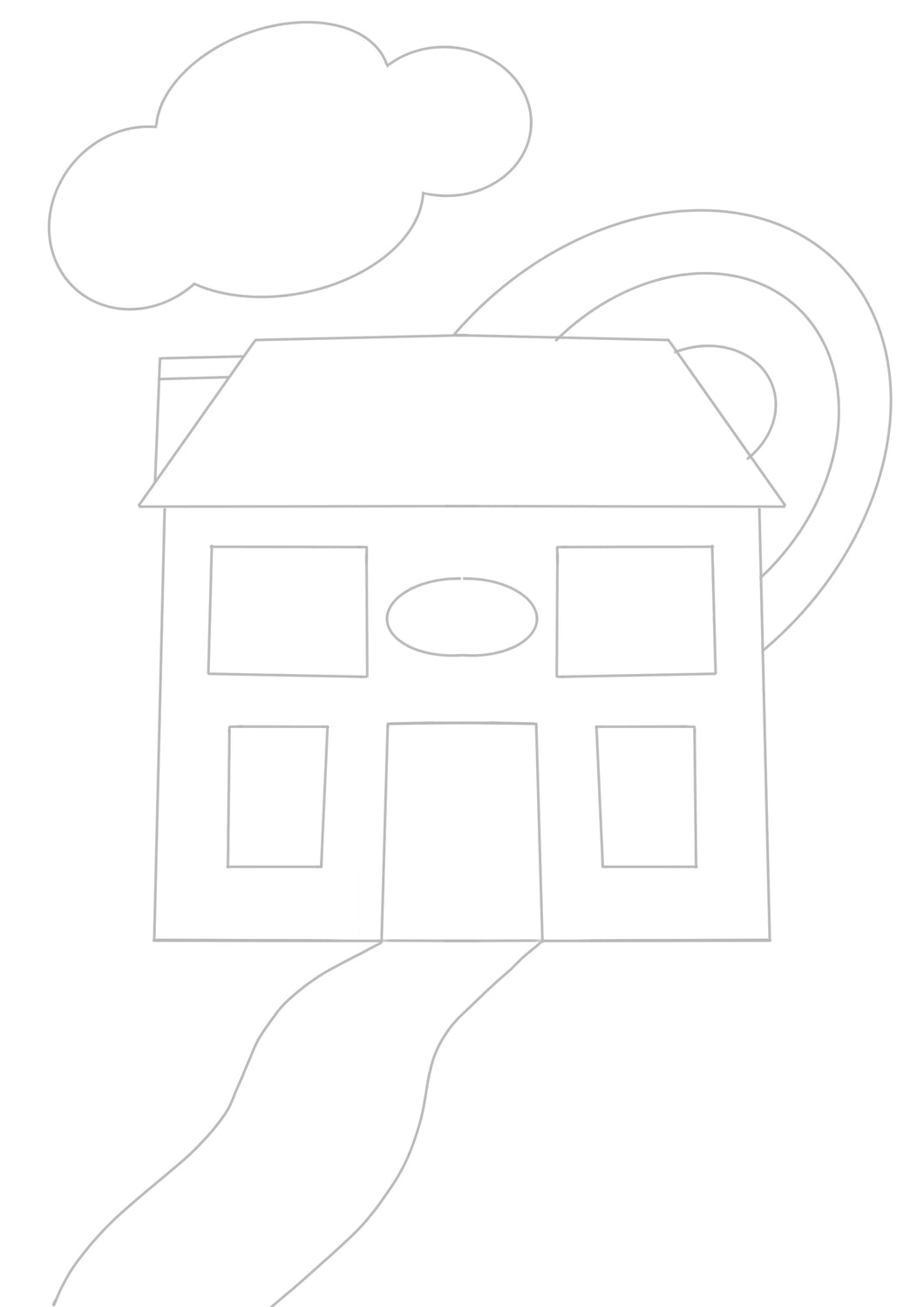 Rainbow House - Digital Download Colouring Sheet