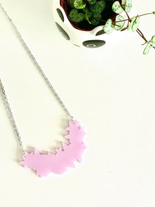 40% off End of Line Sale - Star Burst Metallic Pink Acrylic Necklace
