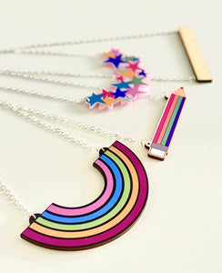 NEW Rainbow Pencil Wooden Necklace