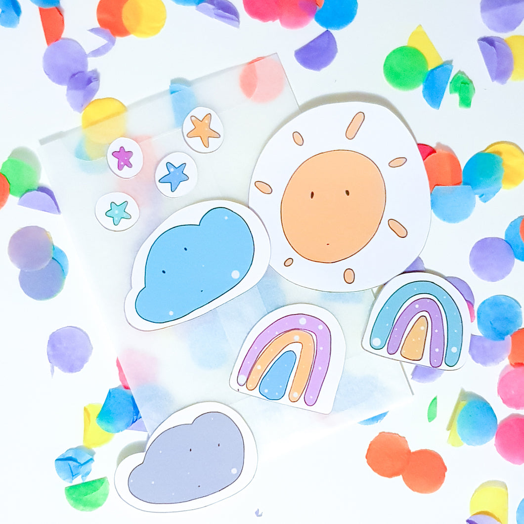 Sticker Pack | Sun | Stars | Clouds | Rainbows | Multipack
