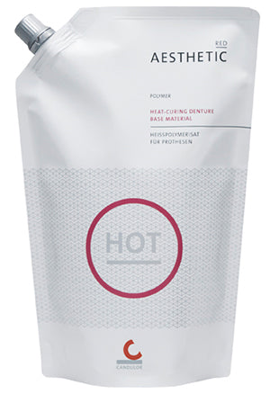 Candulor Aesthetic red heat-curing denture base material polymer (powder), 100g or 500g