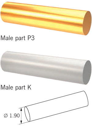 C&M Round bar with rider male part P3 or K, 1 pc