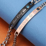 'HIS CROWNED QUEEN AND HER CROWNED KING' STAINLESS COUPLES BRACELET - Accessory Spot