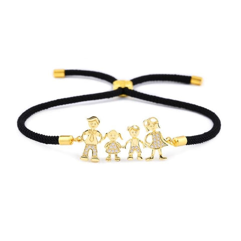 Love Mom Dad Kids Figure Family Bracelet