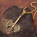 Double Bladed Axe Charm Pendant Necklace