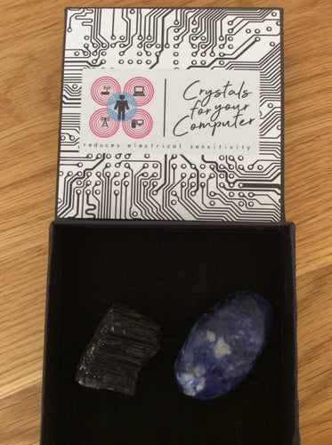 Crystals For Your Computer Gift Set. Contains Sodalite and Black Tourmaline for EMF Protection