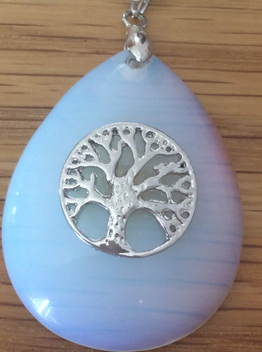 Crystal Pendant with Tree of Life, available in Rose Quartz, Amethyst and Opalite