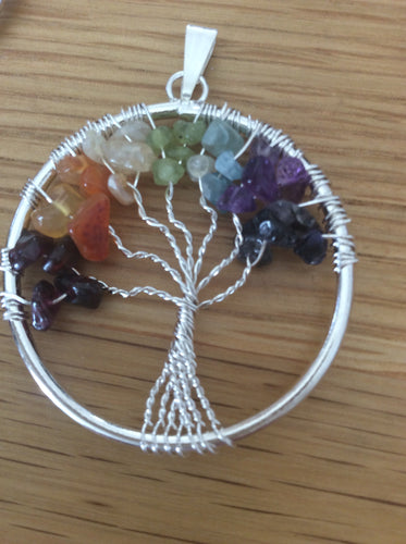 Chakra Crystal Tree of Life Pendant