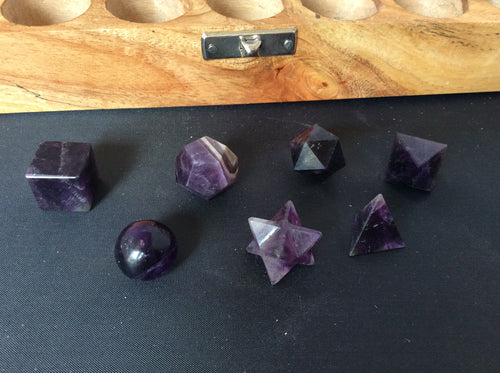 Amethyst Crystal 7 piece Sacred Geometry in Wooden Box