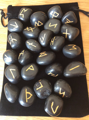 Black Agate Rune Set in Velvet Pouch. Hand engraved, unique crystal divination.