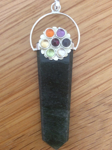 Crystal Pencil Point Pendant with Chakra Flower
