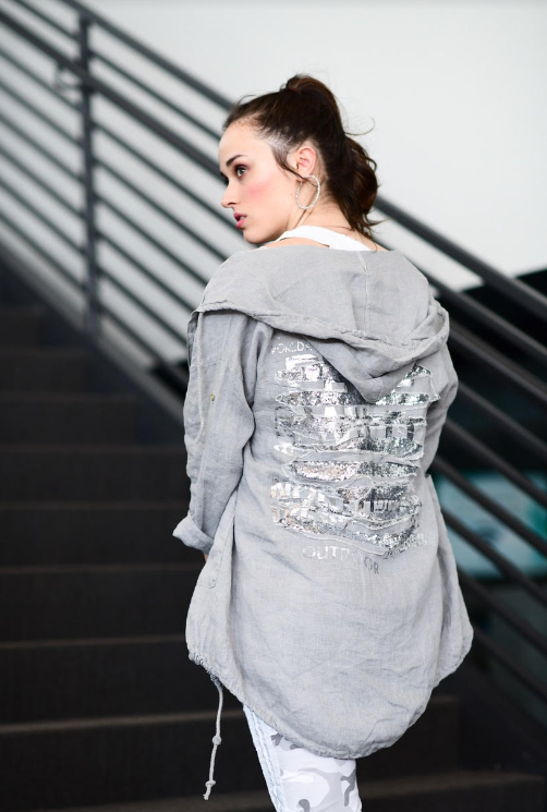 LINEN HOODIE JACKET WITH BACK SEQUINS