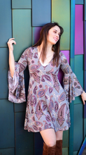 Load image into Gallery viewer, Paisley Bell Sleeve V Neck Dress