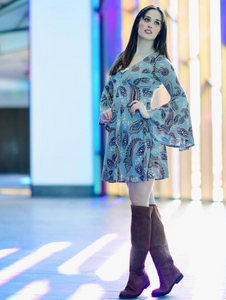 Paisley Bell Sleeve V Neck Dress