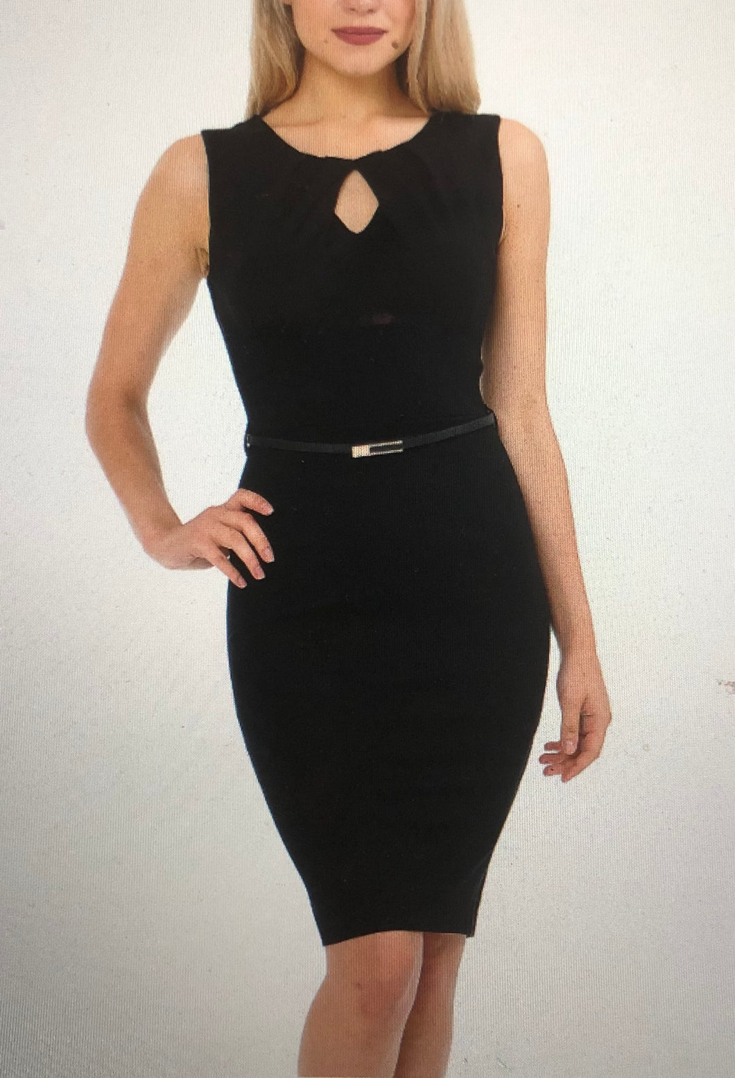 Black classic body con dress with keyhole neckline