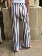 Load image into Gallery viewer, Striped full length lounge pant, back