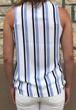 Load image into Gallery viewer, Striped V Neck Wrap Tank, back