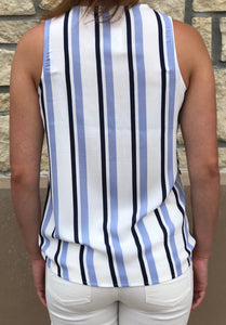 Striped V Neck Wrap Tank, back