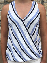 Load image into Gallery viewer, Striped V Neck Wrap Tank