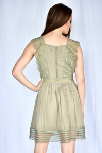 knee length, olive dress with lace, back