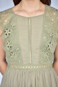 knee length, olive dress with lace, detail